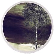 Mountain Tree Round Beach Towel