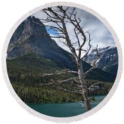 Mountain View At Glacier National Park Round Beach Towel
