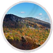 Mountain View From Linn Cove Viaduct Round Beach Towel