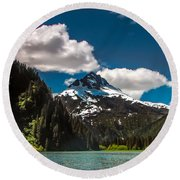 Mountain View Round Beach Towel by Robert Bales
