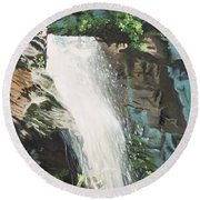 Mountain Waterfall Round Beach Towel