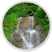 Mountain Waterfall II Round Beach Towel