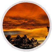 Mountain Wave Cloud Sunset With Pines Round Beach Towel