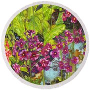Mountain Wild Flowers Round Beach Towel