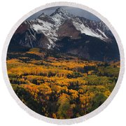 Mountainous Storm Round Beach Towel