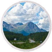 Mountains Along Cassiar Highway In Yt Round Beach Towel