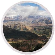 Mountains Along N9, Al Haouz Round Beach Towel