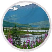 Mountains And Fireweed Along North Sascatchewan River Along Icefield Parkway-ab Round Beach Towel