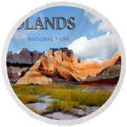 Mountains And Sky In The Badlands National Park  Round Beach Towel