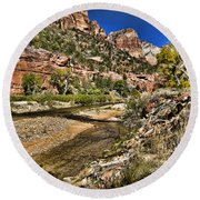 Mountains And Virgin River - Zion Round Beach Towel