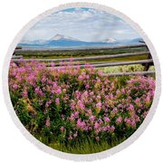 Mountains And Wildflowers Round Beach Towel