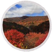 Mountains At Graveyard Fields Round Beach Towel
