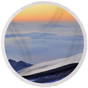 Mountains Clouds At Sunset Round Beach Towel