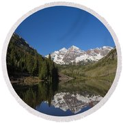 Mountains Co Maroon Bells 12 Round Beach Towel