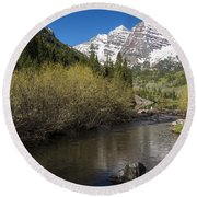 Mountains Co Maroon Bells 14 Round Beach Towel