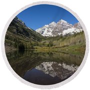 Mountains Co Maroon Bells 16 Round Beach Towel