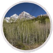 Mountains Co Maroon Bells 23 Round Beach Towel