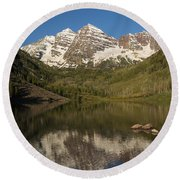 Mountains Co Maroon Bells 7 Round Beach Towel