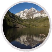Mountains Co Maroon Bells 8 Round Beach Towel