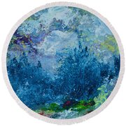 Mountains In Spring Round Beach Towel