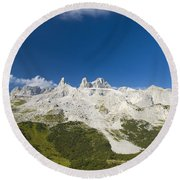 Mountains In The Alps Round Beach Towel