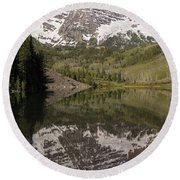Mountains Maroon Bells 11 Round Beach Towel