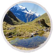 Mountains Of New Zealand Round Beach Towel