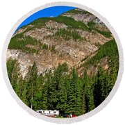 Mountains West Of Kicking Horse Campground In Yoho Np-bc Round Beach Towel