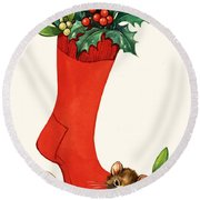 Mouse In A Christmas Sock Round Beach Towel