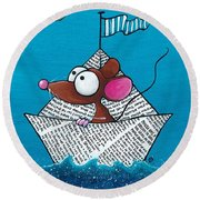 Mouse In His Paper Boat Round Beach Towel