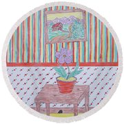 Mouse In The House Round Beach Towel