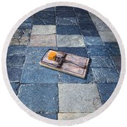 Mouse Trap With Cheese. Round Beach Towel