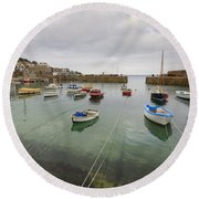 Mousehole Harbour Round Beach Towel