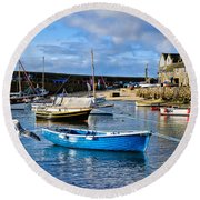 Mousehole Harbour Morning Round Beach Towel