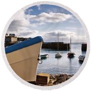 Mousehole Harbour On A May Morning Round Beach Towel