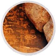 Mouse's Tank Petroglyph Canyon Round Beach Towel