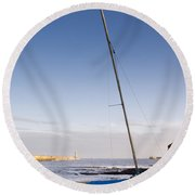 Mouth Of The River Tyne Round Beach Towel
