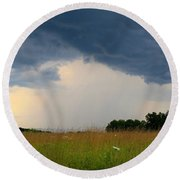 Mouth Of The Storm Round Beach Towel
