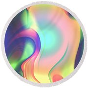 Movement Abstract Ink Digital Painting Round Beach Towel