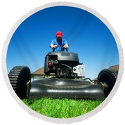 Mowing The Lawn Round Beach Towel