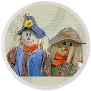 Mr And Mrs Scarecrow Round Beach Towel