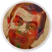 Mr Bean Rowan Atkinson Watercolor Portrait On Worn Distressed Canvas Round Beach Towel by Design Turnpike