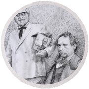 Mr Chicken And Mr Dickens Round Beach Towel