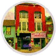 Mr Jordan Mediterranean Food Cafe Cabbagetown Restaurants Toronto Street Scene Paintings C Spandau Round Beach Towel
