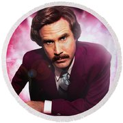 Mr. Ron Mr. Ron Burgundy From Anchorman Round Beach Towel