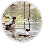 Mr. Wood Duck And Friends Round Beach Towel