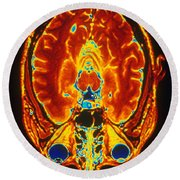 Mri Of Brain Round Beach Towel