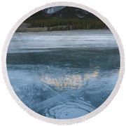 Mt. Abraham And Ice On Abraham Lake Round Beach Towel
