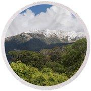 Mt. Aspiring National Park Mountains Round Beach Towel