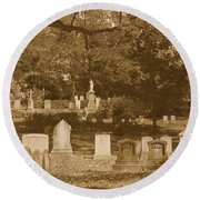 Mt Auburn Cemetery 13 Sepia Round Beach Towel